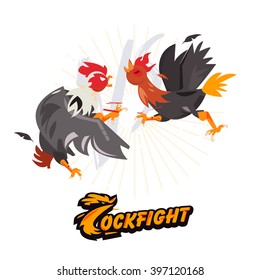 Cockfighting. character design come with typographic for infographic or header design - vector illustration