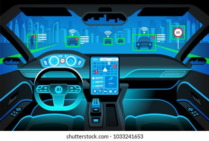 Cockpit of autonomous car. self driving vehicle. Artificial intelligence on the road. Head up display(HUD) and various information. Vehicle interior. Vector illustration
