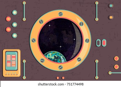 cockpit cabin. planet and stars in the porthole. It can be used for backgrounds, websites, brochures, postcards, etc.