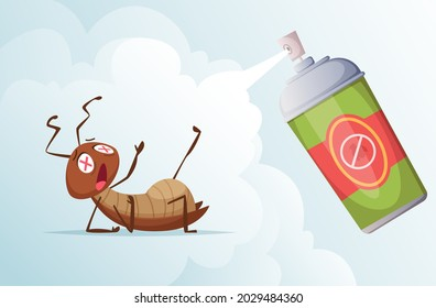 Cockroach baiting. Bad insects in living room home hygiene from dirty bugs exact vector cartoon background