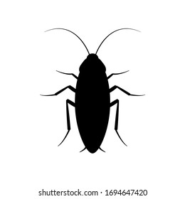 Cockroach bug vector icon. Roach silhouette insect black icon illustration pest