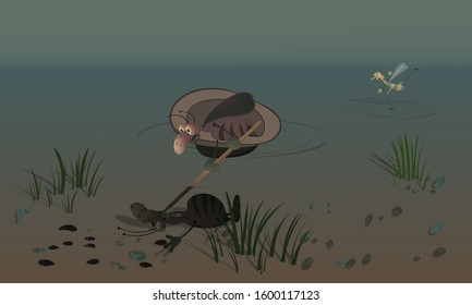 A cockroach floats in a hat on the water and finds his drowned comrade. Scene on the theme of nature and water life. Vector illustration for cards, posters and children's books.