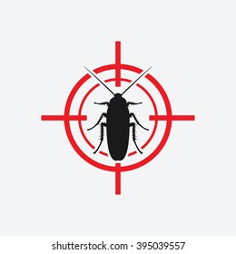 cockroach icon red target - vector illustration. eps 8