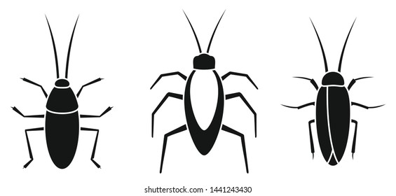 Cockroach insect icons set. Simple set of cockroach insect vector icons for web design on white background