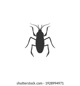Cockroach silhouette vector on a white background