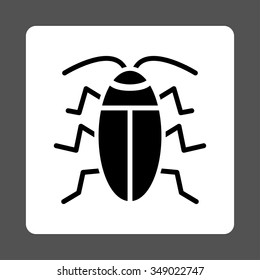 Cockroach vector icon. Style is flat rounded square button, black and white colors, gray background.