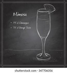 Cocktail alcohol Mimosa with Champagne, orange juice, orange on black board