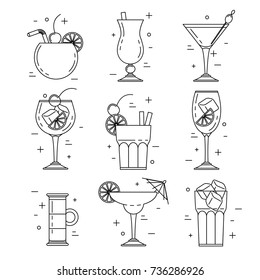 Cocktail alcoholic set, vector line art design