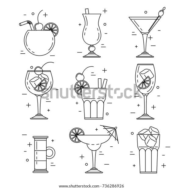 Cocktail alcoholic set, vector line art design