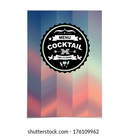 Cocktail bar menu, template design.Vector illustration.