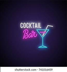 Cocktail bar neon signboard. Vector Illustration.