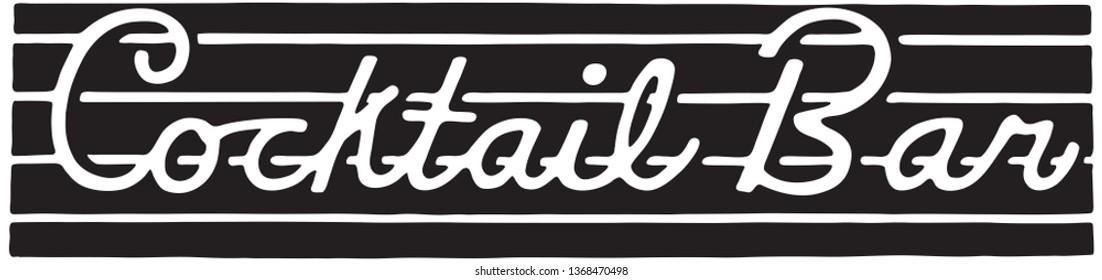 Cocktail Bar  - Retro Ad Art Banner