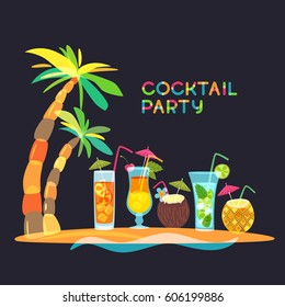 Cocktail beach party concept, vector doodle illustration. Tropical island with cocktails, juice and palm tree on black background. Trendy flat design for summer party, bar menu of alcohol drinks.