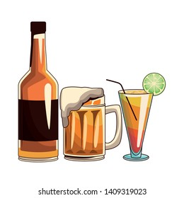 cocktail beer and bottle icon cartoon vector illustration graphic design