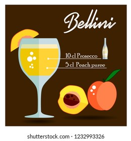Cocktail Bellini. With peach and bottle of alcphol. Vector illustration. Flat