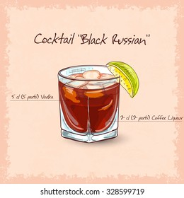 Cocktail Black russian . It consists of vodka, ice and coffee liqueur.