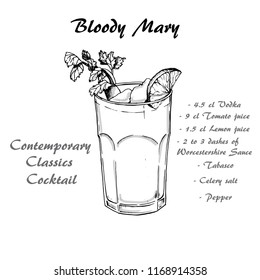 Cocktail bloody mary in sketch style for menu, cocktail cards.