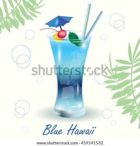 Cocktail Blue Hawaii On White Background Vector de stock (libre de ...