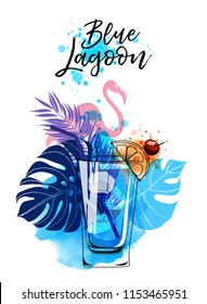 Cocktail Blue lagoon. Watercolor vector background