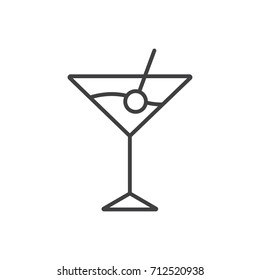 Cocktail with cherry line icon.