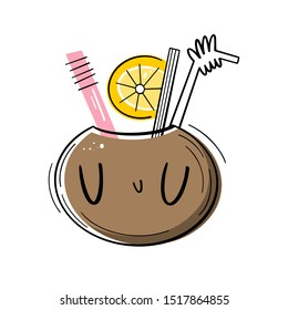 Cocktail in a coconut with straws and orange. Vector illustration of Emoji. Tropical drink in flat style