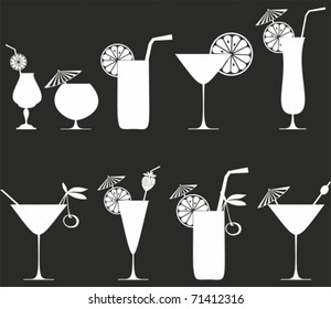 Cocktail Collection Isolated on black Background. Silhouette. vector illustration