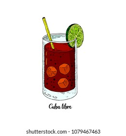 Cocktail cuba libre in sketch style for menu, cocktail cards. Contemporary Classic cocktail. Longdrink. National drink of Cuba