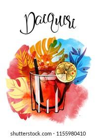 Cocktail daiquiri. Watercolor vector background