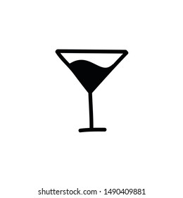 cocktail doodle icon, vector illustration