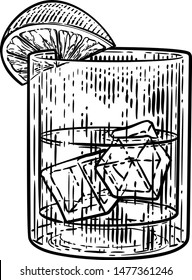 A cocktail drink in a glass with ice and lemon or lime in a retro vintage woodcut engraving or etching style