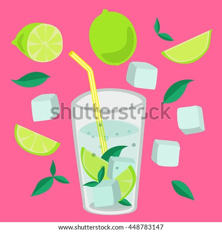cocktail drink, lime, mint, ice cubes