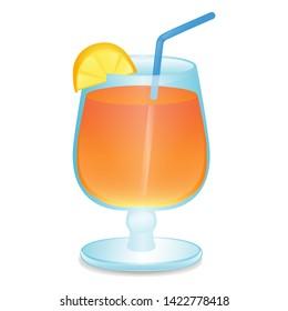 Cocktail Drink. Summer Vacations. Illustration Face Vector Design Art.