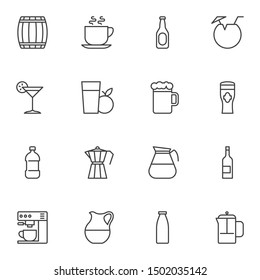 Cocktail drinks line icons set. linear style symbols collection, outline signs pack. vector graphics. Set includes icons as beer mug, wine bottle, water, coffee maker machine, fresh apple juice glass