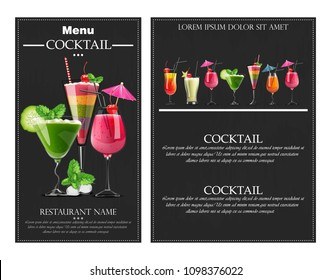 Cocktail drinks Vector realistic banner flyer layout. Night party template with summer drinks collection. 3d illustrations