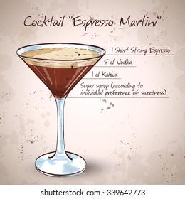 Cocktail Espresso Martini, consisting of vodka, coffee liqueur and coffee