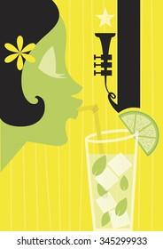 Cocktail Girl - Vector illustration