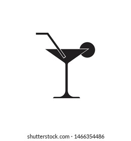 cocktail glass black icon on isolated background