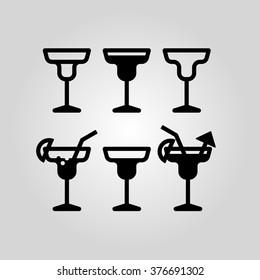 Cocktail glass flat icon set