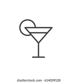 Cocktail glass line icon, outline vector sign, linear style pictogram isolated on white. Symbol, logo illustration. Editable stroke. Pixel perfect