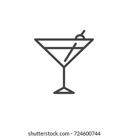 Cocktail glass line icon, outline vector sign, linear style pictogram isolated on white. Symbol, logo illustration. Editable stroke