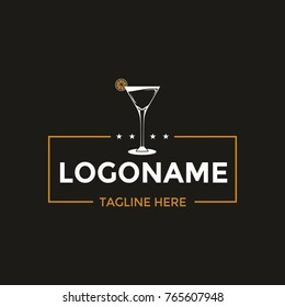 Cocktail glass logo design