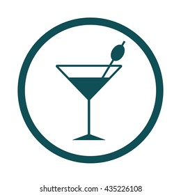 Cocktail glass / olive / icon / circle/ button  / vector illustration