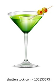 Cocktail in a glass glass with olives. Vector.