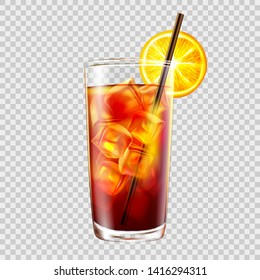 Cocktail in a glass with a straw on the background of transparency, long island iced tea.