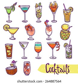 Cocktail glasses cold summer party refreshment sketch set isolated vector illustration