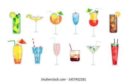 Cocktail glasses flat vector illustration. Set of alcoholic drinks with ice cubes and lemons. Party in the club.