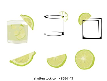 Cocktail glasses and lime.