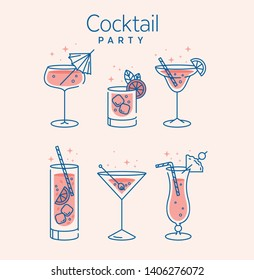 Cocktail glasses minimal vector thin line illustration. Six refreshing cocktails with ice cubes and lemons. Party in the club. Created for menu designs. Set of alcoholic drinks like Mojito or Martini