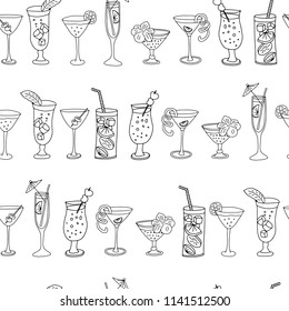 Cocktail glasses in a row seamless vector pattern. Black drinking glasses lined up on a white background with Cheers lettering, pineapples, and hibiscus flowers. Great for backgrounds, bar menues.