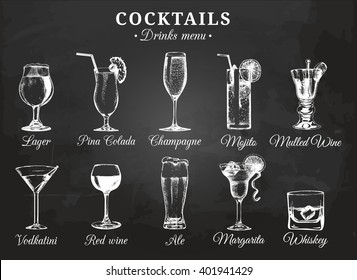 Cocktail glasses vector illustrations for drink menu. Hand drawn sketches set of alcoholic beverages: beer, pina colada, mojito, margarita, vodkatini, champagne, mulled wine, red wine, whiskey etc.